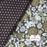Set 2ชิ้น: ผ้าคอตตอนไทยลายดอกไม้+ผ้าคอตตอนไทยลายจุด โทนสีน้ำตาล