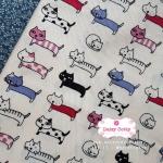 ผ้าคอตตอนไทย 100% 1/4 ม.(50x55ซม.) พื้นสีขาวครีม ลายแมว