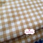 ผ้าคอตตอนไทย 100% 1/4 ม.(50x55ซม.) ลายตารางโทนสีครีม