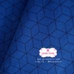 ผ้าคอตตอนไทย 100% 1/4 ม.(50x55ซม.) พื้นสีน้ำเงิน ลายสีดำ