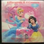 แผ่นรองจานอาหาร / รองแก้ว ลายการ์ตูน, Disney Princess Placemat เซ็ท 4 +4 แผ่น