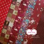 Set 6 ชิ้น : ผ้าคอตตอน 100% โทนสีแดง 6 ลาย ชิ้นละ1/8 ม.(50x27.5ซม.)