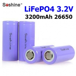 LiFePO4 Soshine 3200mAh 26650 3.2V Rechargeable Flat Top Battery Smart