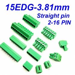 15EDG-3.81mm - 2P 3P 4P 5P 6P Plug Screw Terminal Block (Male+Female) Straight pin