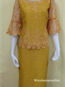 ชุดผ้าไหมญี่ปุ่นแต่งด้วยลูกไม้นอก ปักมุข เสื้อ+กระโปรงยาว สีทอง เบอร์ 40