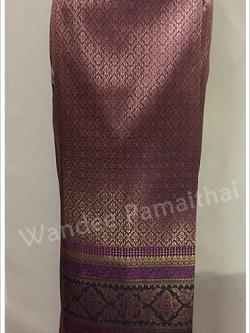 ผ้าถุงไหมสำเร็จรูป สีม่วงอมชมพู เอว28-30 นิ้ว