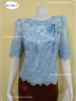 เสื้อลูกไม้นอกแซมเลื่อม อกแต่งดอกไม้ แขน3ส่วน สีฟ้า เบอร์ XL