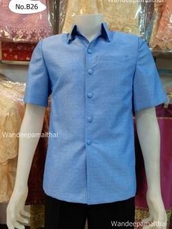 เสื้อผ้าไหมญี่ปุ่นชาย ซับผ้ากาวทั้งตัว กระเป๋า 3 ใบ สีฟ้าคราม เบอร์ L