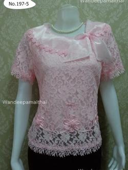 เสื้อลูกไม้แต่งปกผ้าแก้ว สีชมพู เบอร์ XXL อกเสื้อวัดเต็ม 42 นิ้ว