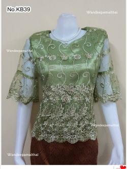 เสื้อลูกไม้แก้ว คอหัวใจ ซับด้วยผ้าต่วนอย่างดี ซิปหลัง สีเขียว เบอร์ L เล็ก