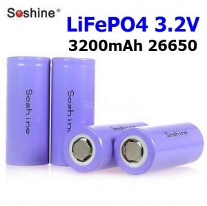 LiFePO4 Soshine 3200mAh 26650 3.2V Rechargeable Flat Top Battery Smart