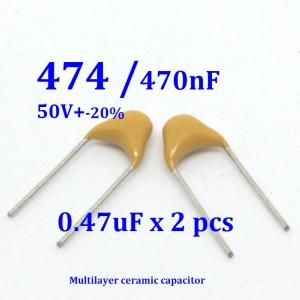470nF (474) Multilayer Ceramic Capacitor (2ตัว) (2 pcs per lot)