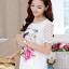 เสื้อแฟชั่นเกาหลี สกรีนลายสวยๆ แต่งแขนด้วยผ้าซีทรูลายโดดเด่น thumbnail 1