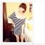 เสื้อแฟชั่นเกาหลี ทรงยาว ลายขวาง เย็บลูกไม้เป็นคอเสื้อ เด่นสุดๆ thumbnail 1