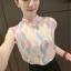 เสื้อแฟชั่นแขนกุด สีสันสวยงาม ลายข้าวหลามตัด สีสันสไตล์ colorful thumbnail 6