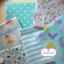 Set 6 ชิ้น : ผ้าคอตตอนไทย 5 ลายและผ้าแคนวาสลายจุด โทนสีฟ้า ชิ้นละ1/8 ม.(50x27.5ซม.) thumbnail 1
