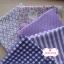 Set 5 ชิ้น : ผ้าคอตตอน100% โทนสีม่วง 4 ลาย และผ้าแคนวาสลายตาราง แต่ละชิ้นขนาด1/8 ม.(50x27.5ซม.) thumbnail 1