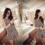 เดรสแฟชั่นเกาหลี สีขาวดำสไตล์ทูโทน ใส่แล้วสูงเพรียวด้วยสีสันลายตรง thumbnail 4