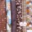Set 6 ชิ้น : ผ้าคอตตอน 100% โทนสีน้ำตาล 5 ลาย + ผ้าแคนวาสลายตาราง ชิ้นละ1/8 ม.(50x27.5ซม.) thumbnail 2
