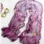 ผ้าพันคอผ้าPolyester+ผ้าไหม เสือดาวสีม่วงเข้ม ( รหัส P91 ) thumbnail 1