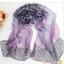 ผ้าพันคอชีฟอง เสือดาวสีม่วง ( รหัส P49 ) thumbnail 1