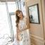 เดรสแฟชั่นเกาหลีทรงยาว พร้อมเข็มขัดในชุด กับลายดอกไม้สวยๆ thumbnail 34