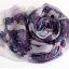ผ้าพันคอผ้าPolyester+ผ้าไหม ลายลูกไม้เสือดาวสีม่วง ( รหัส P55 ) thumbnail 1