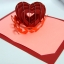 A23 การ์ดป๊อปอัพ หัวใจสานสีแดงประกายมุก พื้นสีชมพูแสด thumbnail 3