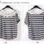 เสื้อแฟชั่นเกาหลี ทรงยาว ลายขวาง เย็บลูกไม้เป็นคอเสื้อ เด่นสุดๆ thumbnail 6
