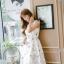 เดรสแฟชั่นเกาหลีทรงยาว พร้อมเข็มขัดในชุด กับลายดอกไม้สวยๆ thumbnail 40