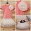 เสื้อยืดสีชมพูลายจุดประดับดอกไม้ขาว [Korea] thumbnail 1
