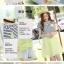 เดรสสั้นเกาหลี สไตล์ผ้า 2 ชิ้น ด้วยเสื้อลายขวางตัดกับสีพื้น เรียบง่าย ลงตัว thumbnail 4