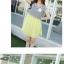 เดรสสั้นเกาหลี สไตล์ผ้า 2 ชิ้น ด้วยเสื้อลายขวางตัดกับสีพื้น เรียบง่าย ลงตัว thumbnail 6
