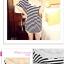 เสื้อแฟชั่นเกาหลี ทรงยาว ลายขวาง เย็บลูกไม้เป็นคอเสื้อ เด่นสุดๆ thumbnail 3