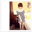 เสื้อแฟชั่นเกาหลี ทรงยาว ลายขวาง เย็บลูกไม้เป็นคอเสื้อ เด่นสุดๆ thumbnail 2