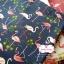 ผ้าคอตตอนไทย 100% 1/4 ม.(50x55ซม.) พื้นสีน้ำเงินกรมท่า ลายนกฟลามิงโก้ thumbnail 1
