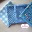 Set 4 ชิ้น : ผ้าคอตตอน100% โทนสีฟ้า 3 ลายและผ้าแคนวาส ลายตาราง แต่ละชิ้นขนาด1/8 ม.(50x27.5ซม.) thumbnail 1