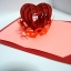 A23 การ์ดป๊อปอัพ หัวใจสานสีแดงประกายมุก พื้นสีชมพูแสด thumbnail 6