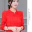 เสื้อชีฟองใหม่ สไตล์สาวเกาหลี ปกสูงแต่งด้วยลูกไม้ กับสีพื้นยอดนิยม ขาว - ดำ - แดง thumbnail 30