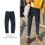 *Pre Order*กางเกงแฟชั่นชาย ผ้ายีนส์นิ่ม,ทรง Slim feet สีดำ/กรม size S-2XL