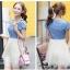 เดรสแฟชั่นเกาหลี สวยหวาน ด้วยเสื้อสียีนส์น่ารักๆ รับกับชายกระโปรงลายลูกไม้ เข้ากันได้ลงตัวสุดๆ thumbnail 2