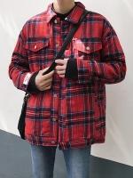 เสื้อแจ็คเก็ตเกาหลี ลายสก็อต แต่งกระเป๋าเสื้อคู่ มี2สี