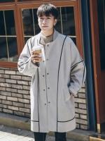 เสื้อโค้ทตัวยาวเกาหลี แต่งลายเส้น แต่งกระเป๋าเสื้อ มี3สี