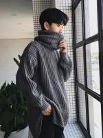 เสื้อสเวตเตอร์ไหมพรมเกาหลี แต่งคอเสื้อตั้ง อุ่นสบาย มี2สี