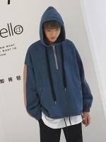 เสื้อฮู้ดแจ็คเก็ตเกาหลี แต่งซิบครึ่งตัว ดีไซน์แถบเส้น มี2สี