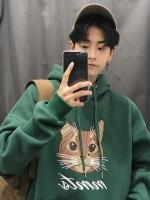 เสื้อฮู้ดคลุมแจ็คเก็ตเกาหลี แต่งพิมพ์ลายรูปแมว มี5สี