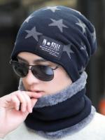 หมวกฤดูหนาวเกาหลี แต่งรูปดาว+ผ้าพันคอ มี5สี