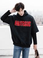 เสื้อฮู้ดแจ็คเก็ตสีดำเกาหลี FANTASTIC ดีไซน์แขนเสื้อ