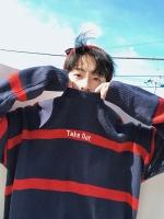 เสื้อสเวตเตอร์เกาหลี ทรงหลวม แต่งลายสลับสี มี3สี