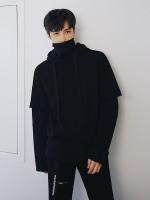 เสื้อฮู้ดแจ็คเก็ตสีดำเกาหลี เรียบสวย ดีไซน์แขนเสื้อ
